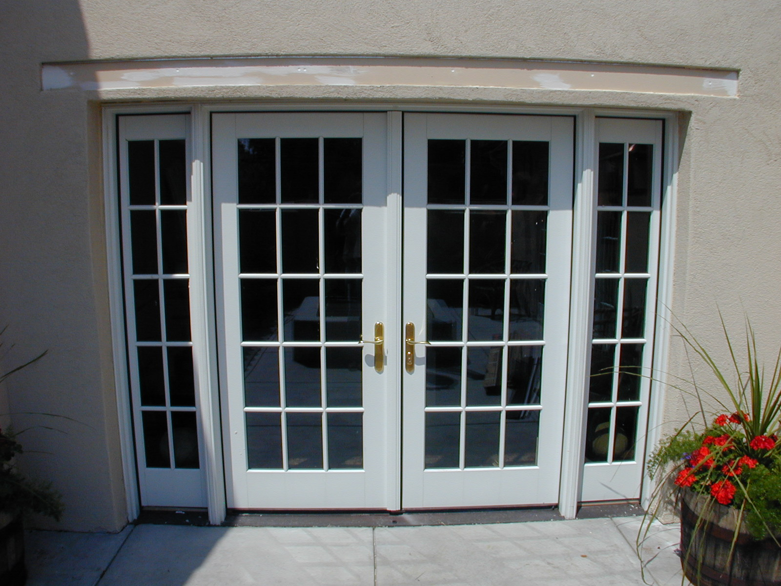 Screens retracted on french doors