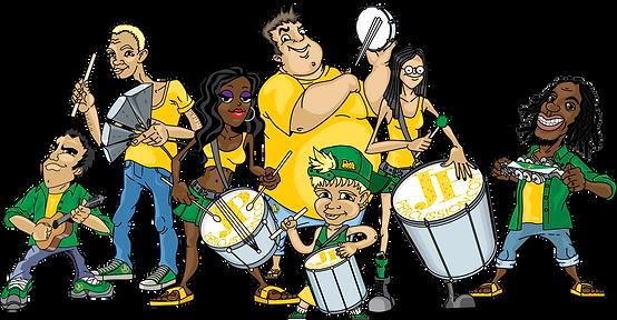 Drummers, Surdo, Caixa, Repique, Tamborim, Cavaquinho, Agogô, Chocalho