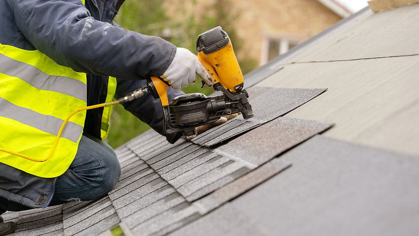 Roofer worker in special protective work