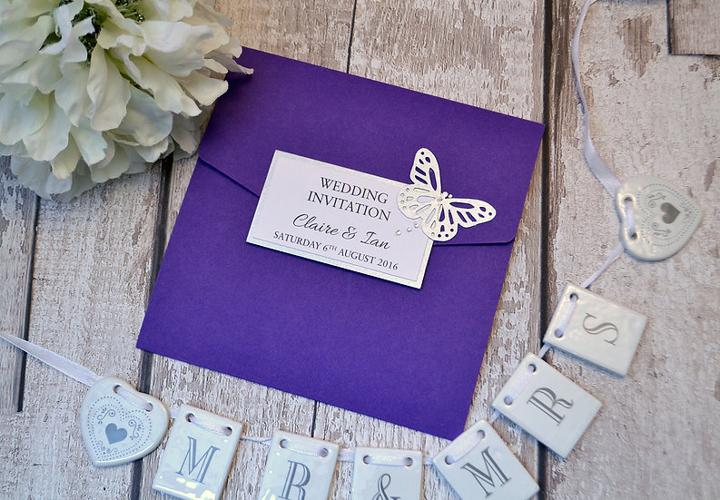 Flutterby Pocketfold Wedding Invitation