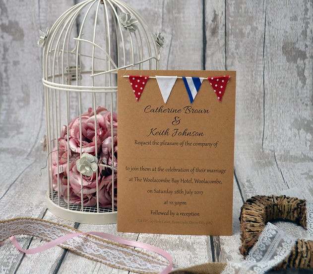 Bunting Flat Invitation Red White and Blue