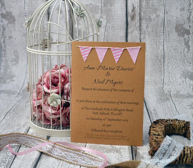 Bunting Flat Invitation Pinks Spots and Stripes