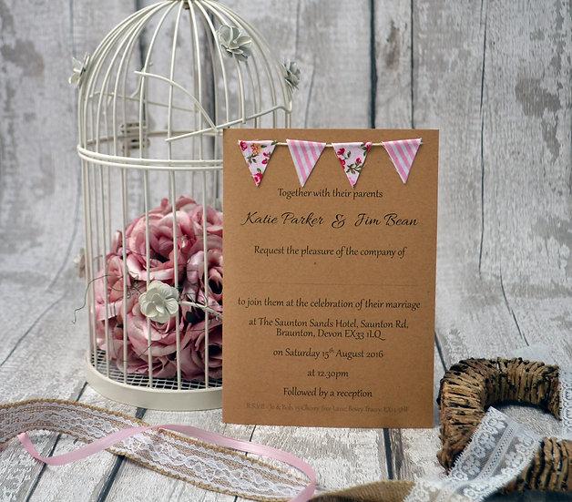 Bunting Flat Invitation Floral Pinks
