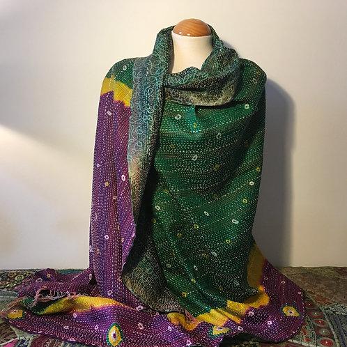 Unique Vintage Indian Silk Handmade Kantha Scarf/Shawl/Wrap