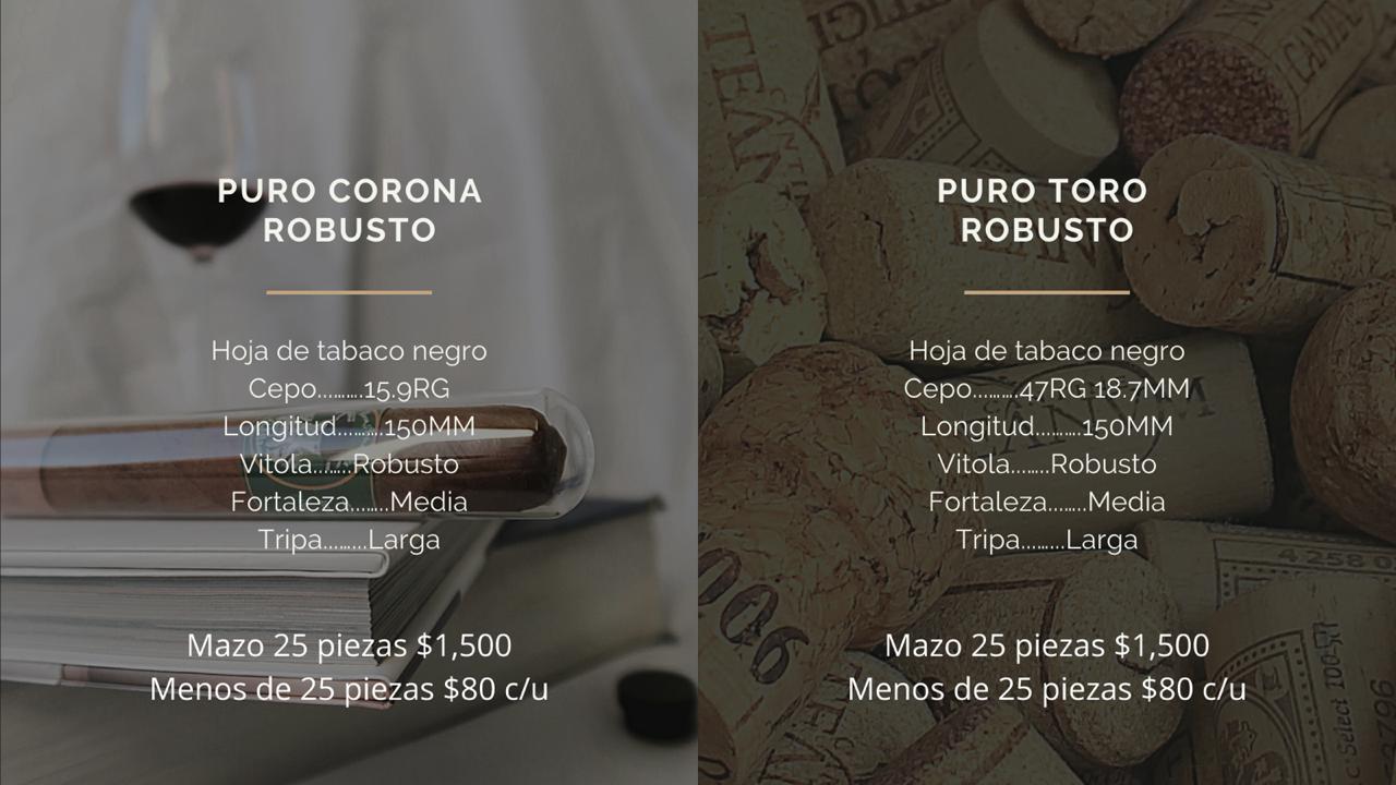 Puros Corona y Toro Robusto