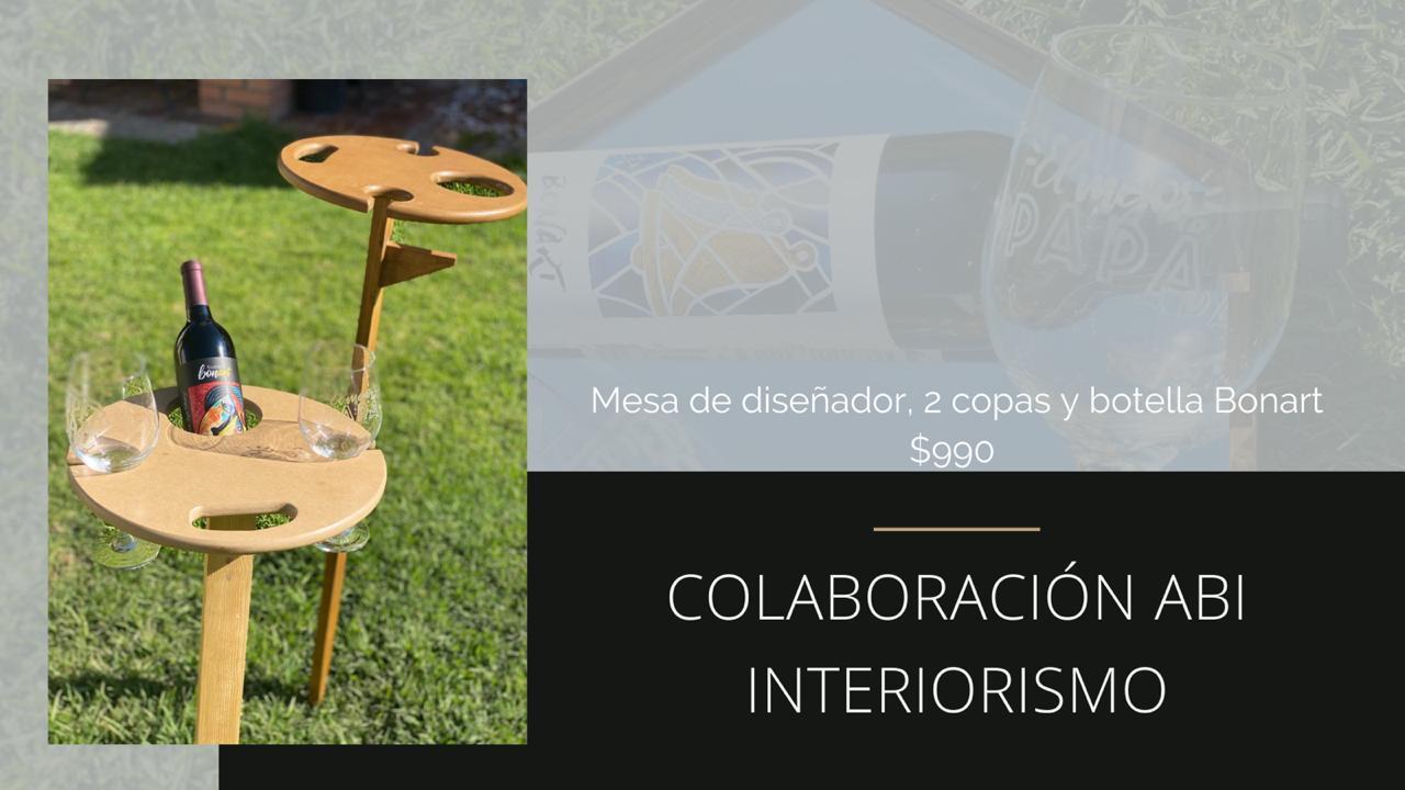 Vino, Mesa de Diseñador y 2 Copas temáticas