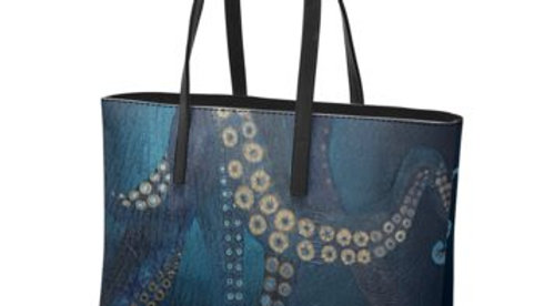 Octopus Leather Tote Bag