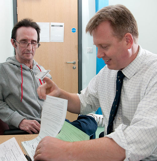 Phil Wykes with patient