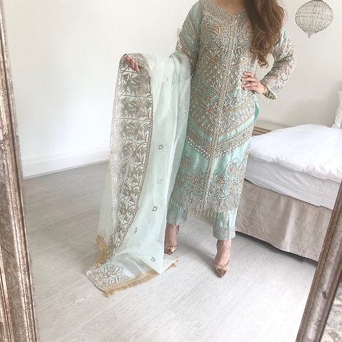 THREE PIECE HEAVY EMBROIDERED OUTFIT