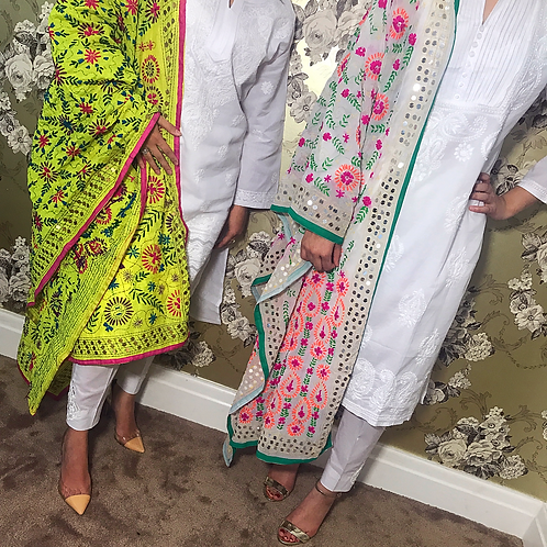 READY TO WEAR THREE PIECE WHITE COTTON OUTFITS