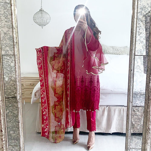 THREE PIECE CHIKANKARI OUTFIT