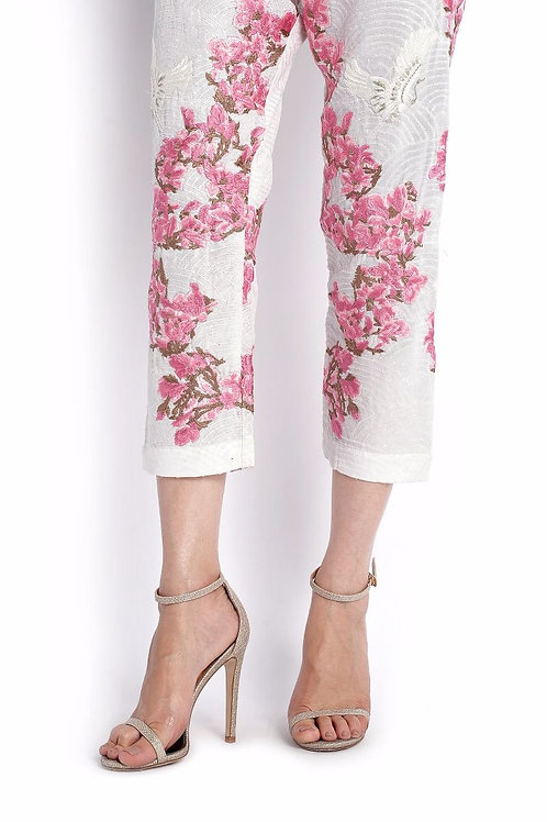 EMBROIDERED STRAIGHT PANTS WITH PINK FLORALS