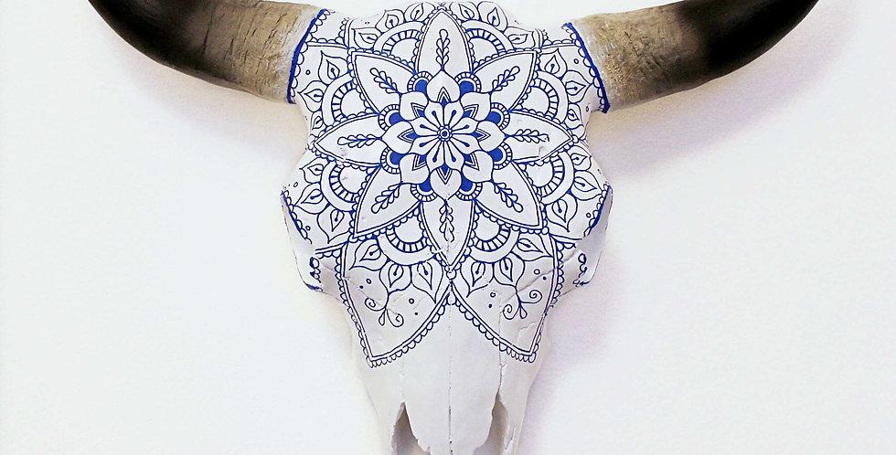 Blue Mandala Faux Cow Skull