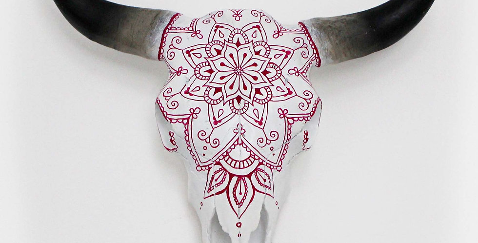 Pink Mandala Faux Cow Skull