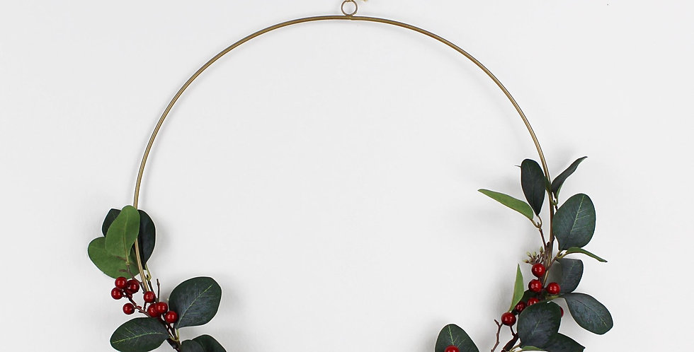 Dark Green Faux Eucalyptus and Red Berry Ring Wreath