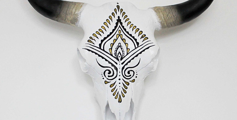 Indian Patterned Faux Cow Skull