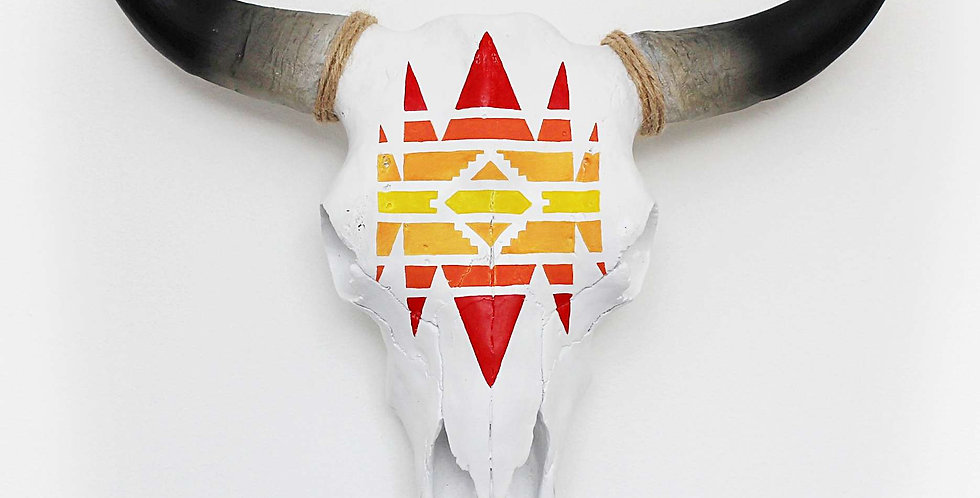 Navajo Patterned Faux Cow Skull