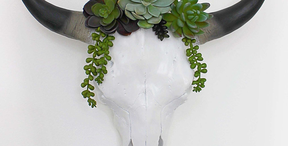 Succulent Crown for White Faux Cow Skull