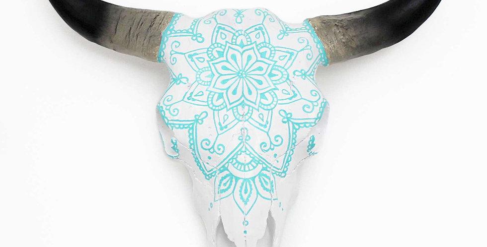 Turquoise Mandala Faux Cow Skull