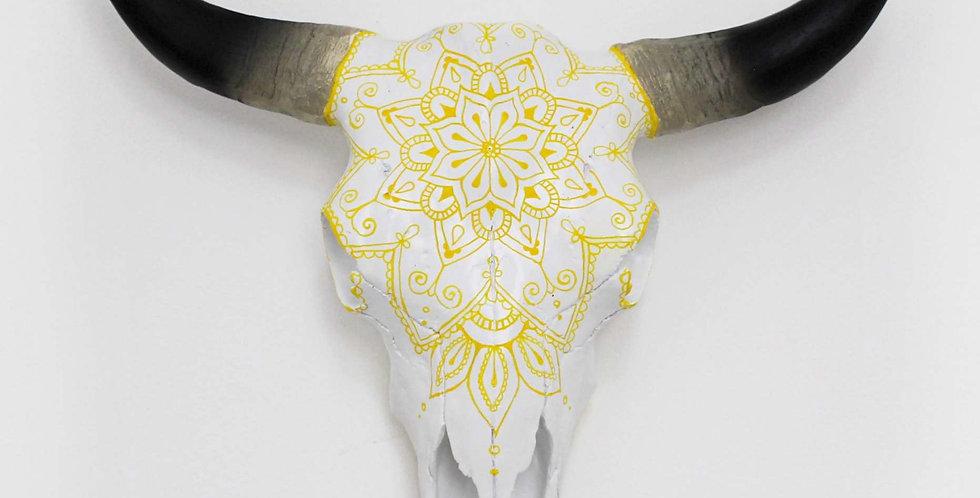 Yellow Mandala Faux Cow Skull