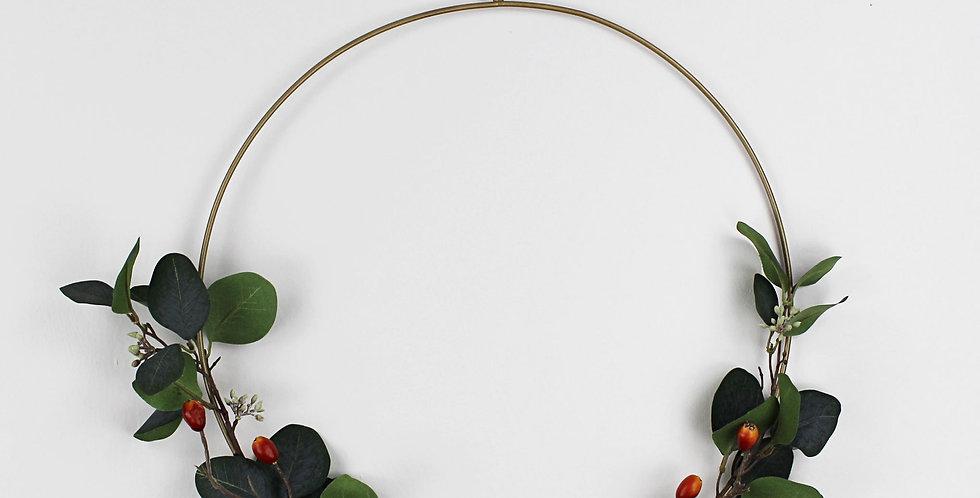 Dark Green Faux Eucalyptus and Rosehip Ring Wreath