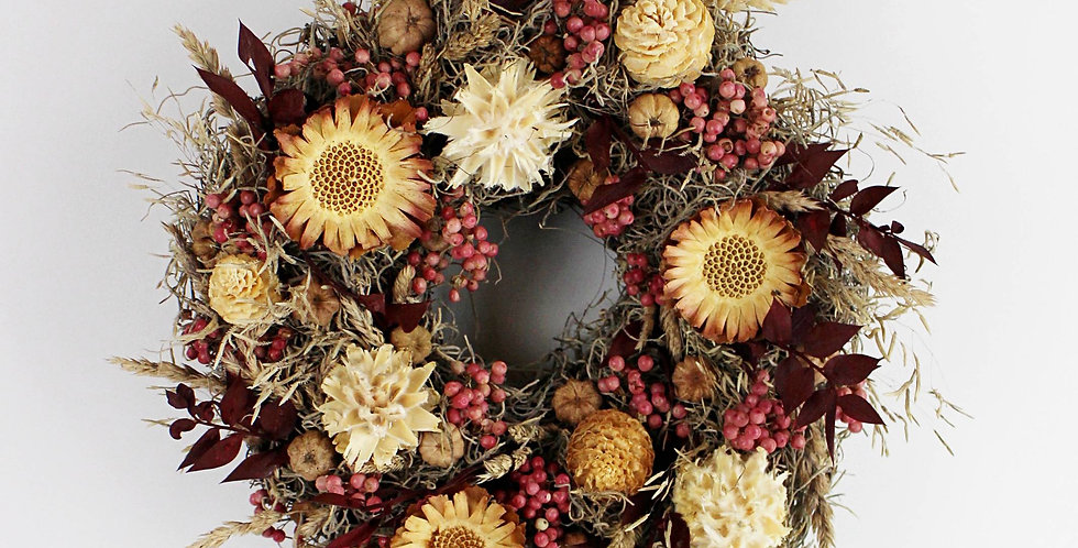 Handmade Dried Flower and Seed Wreath - Protea Berry- Preserved So Will Last for
