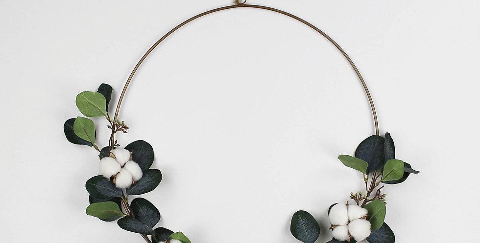 Dark Green Faux Eucalyptus and Cotton Ring Wreath