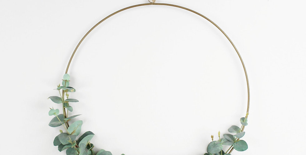 Faux Eucalyptus and Green Succulent Ring Wreath