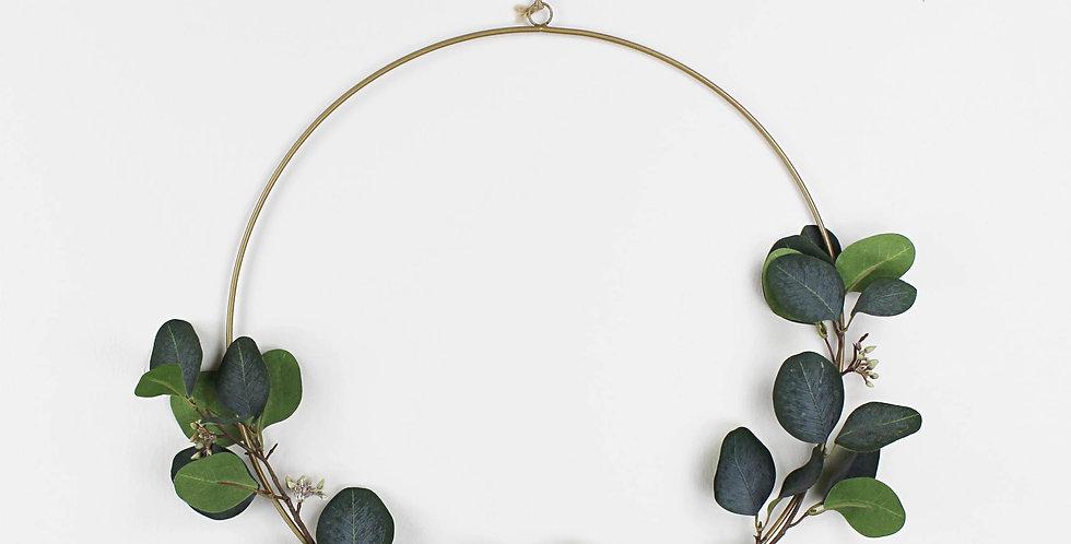 Dark Green Faux Eucalyptus and Seed Wreath