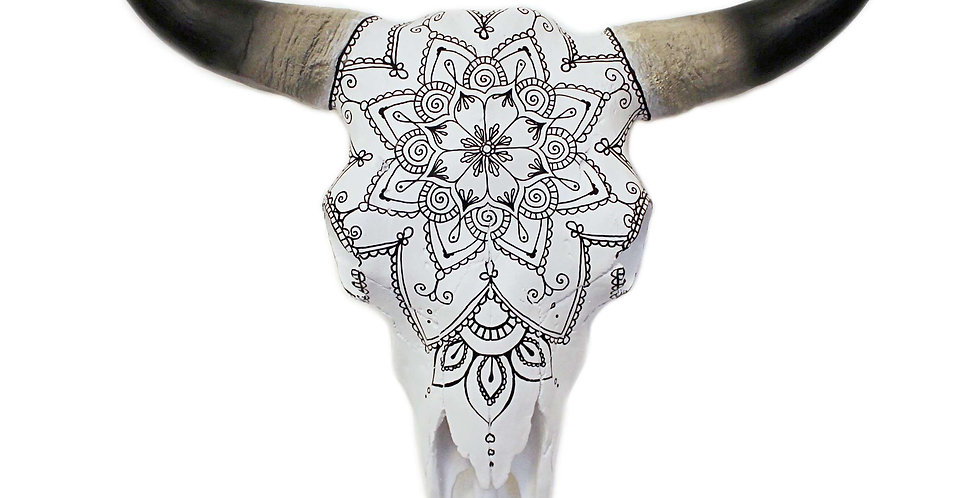 Black Mandala Faux Cow Skull