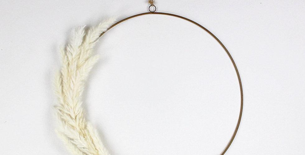 Bleached Pampas Grass Ring Wreath