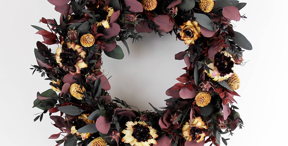 Purple Handmade Eucalyptus and Protea Wreath - Preserved Dried Last for years!