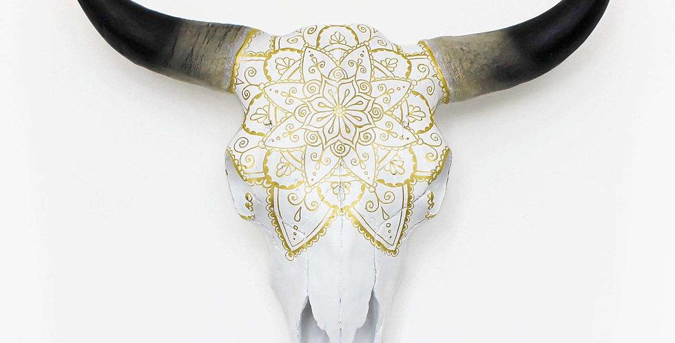 Gold Mandala Faux Cow Skull
