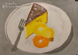 Bolo de laranja com laranjas