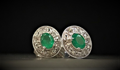 White Gold and Diamond Emerald Earrings