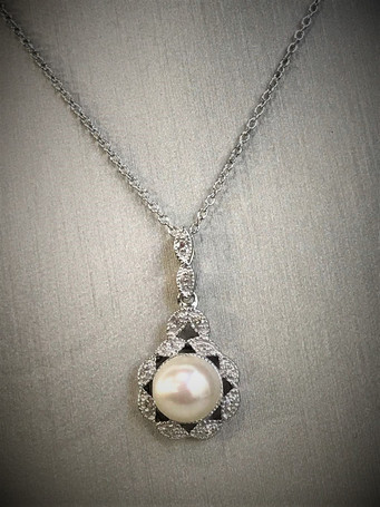 Sterling Silver and Diamond Pearl Necklace