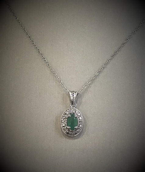 White Gold and Diamond Emerald Necklace