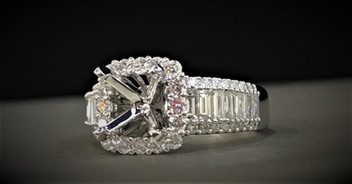White Gold and Diamond Semi-Mount Ring