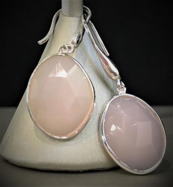 Pink Chalcedony Dangle Earrings