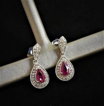 Pear Shape Ruby & Diamond Earrings