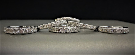 White Gold and Diamond Bands With 11 Stones