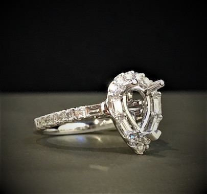 White Gold and Diamond Pear Shape Semi-Mount Ring
