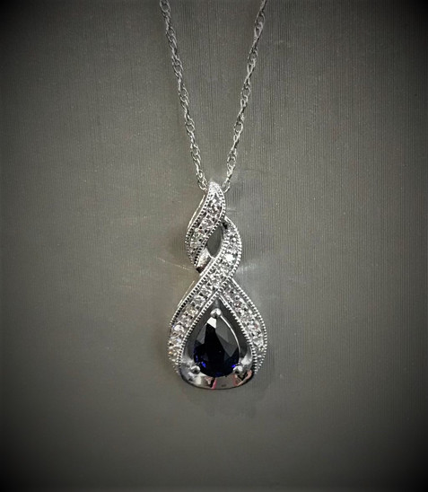 White Gold Diamond and Blue Sapphire Necklace