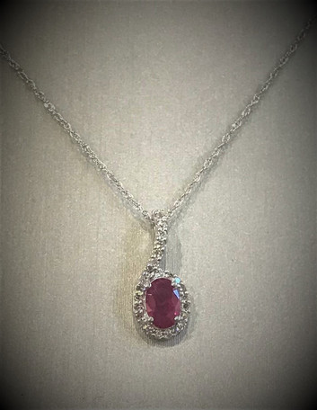White Gold and Diamond Ruby Necklace