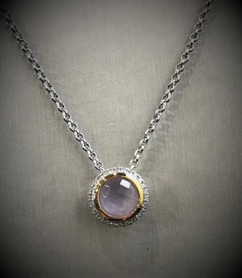 Rose Quartz and Diamond Necklace