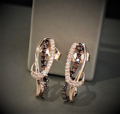 Rose Gold Champagne Diamond Earrings