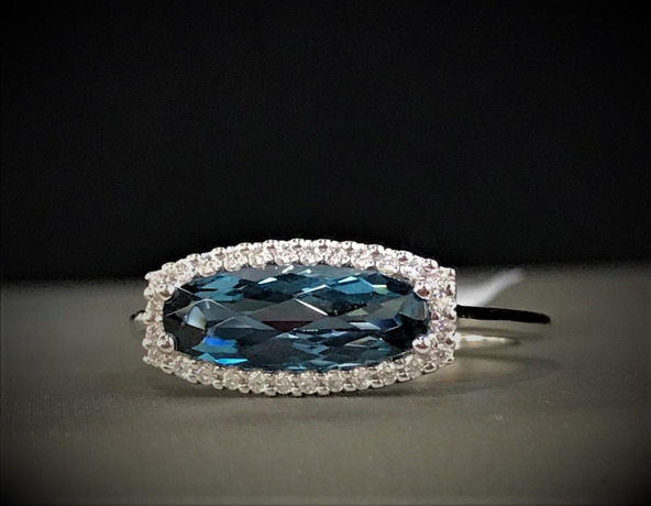 White Gold and Blue Topaz Diamond Ring