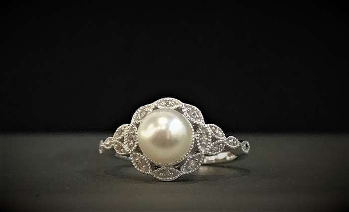 Sterling Silver, Diamond and Pearl Ring