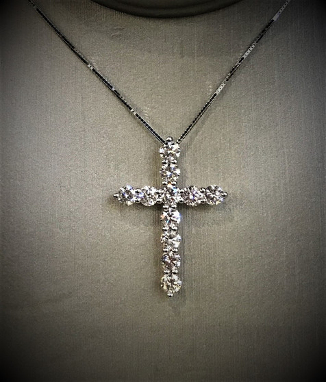 White Gold and Diamond Cross Necklace