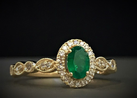 Yellow Gold, Emerald and Diamond Ring